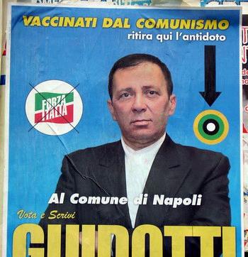 Manifesto elettorale: vaccìnati dal comunismo - ritira qui l'antidoto  - vota guidotti