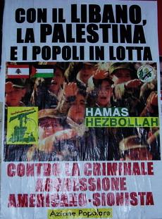 Manifesto di un gruppo di estrema destra: miliziani islamici che fanno il saluto romano